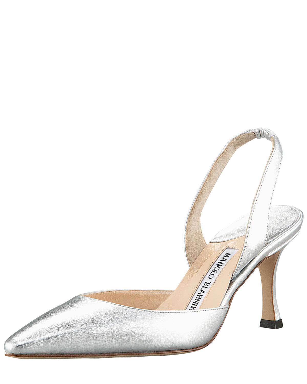 Manolo Blahnik Carolyne Napa Mid-Heel Halter, Metallic Silver, Size: 42 EU (12B US)